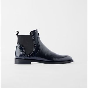 Zara Navy Blue Flat Ankle Boots with Studs*